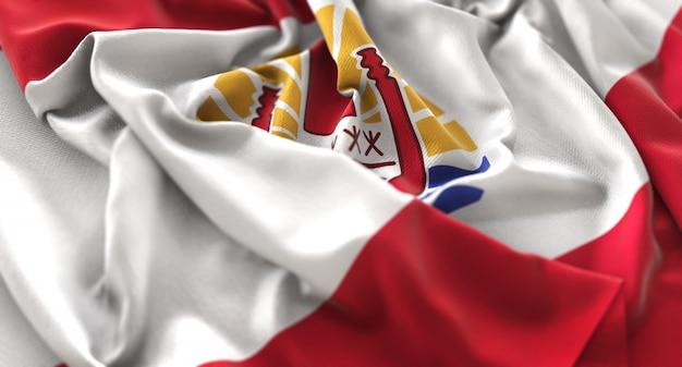 French polynesia flag ruffled beautifully waving macro close-up shot