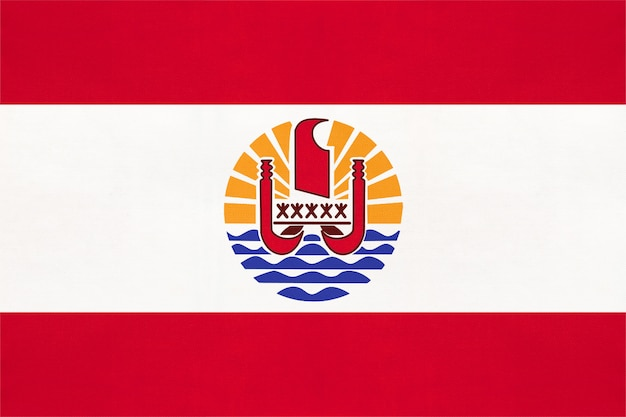 French polynesia national fabric flag, textile background  symbol of world oceania country