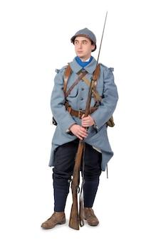 フランスの兵士1918年、白い背景で隔離