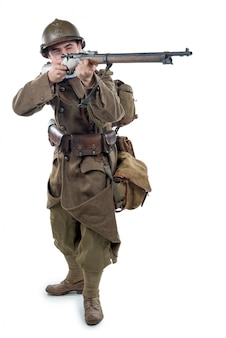 French soldier 1940 isolated