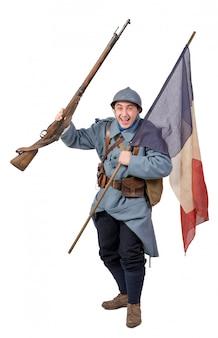 フランスの兵士、旗、白で隔離