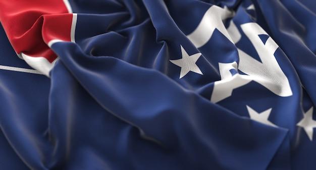 French southern flag ruffled beautifully waving macro close-up shot