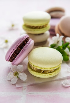 French sweet macaroons colorful variety on a gray textile background