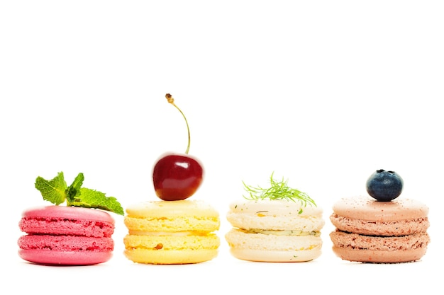 French sweet macaroons on white background