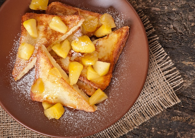 French toast with caramelized apples for breakfast