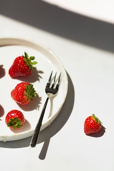 French toast with ricotta cheese and strawberries served with honey. diet delicious summertime snack.