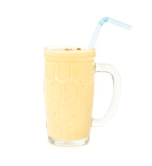 Fresh almond saffron milk / badam shake isolated on white surface