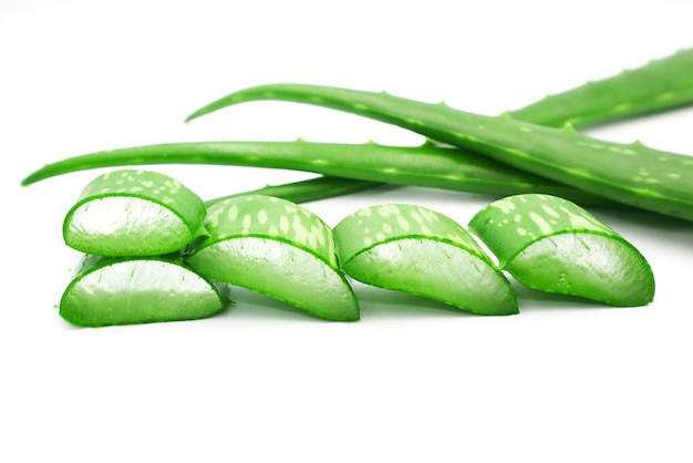Fresh aloe vera sliced isolated on white background.