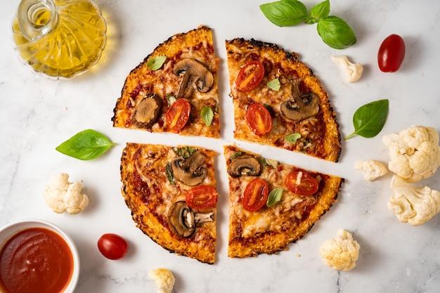 フレッシュで美味しい安っぽいカリフラワーピザ