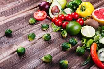 Fresh and healthy food. Avocabo, brussel sprouts, cucumbers, red, yellow and green peppers