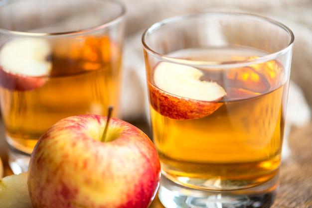 Fresh apple juice close up shot