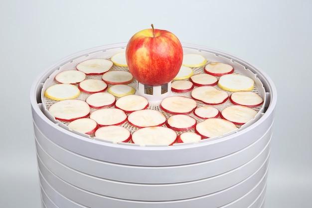 果物用の特別な電気乾燥機のトレイにある新鮮なリンゴのスライス