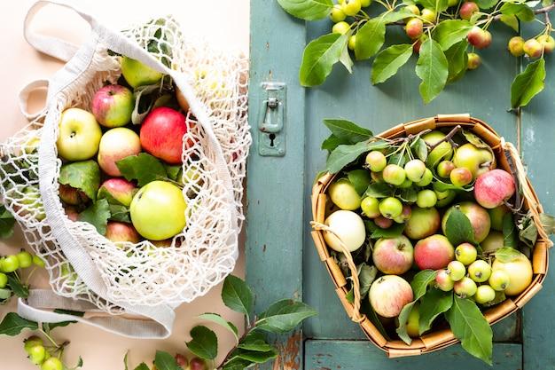 ショッピングバッグメッシュの新鮮なリンゴ。廃棄物ゼロ、プラスチックのコンセプトなし。健康的な食事とデトックス。秋の収穫。フラット横たわっていた、トップビュー。