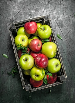 Fresh apples with leaves in a box on rustic table.