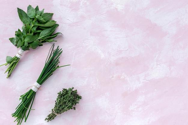 Свежие ароматные травы сверху на розовом фоне