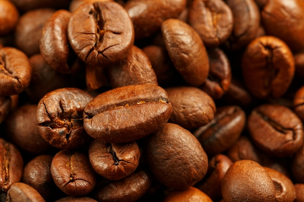 Fresh and aromatic roasted coffee beans