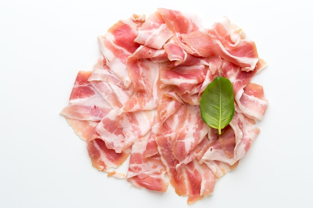 Fresh bacon on the isolated background.
