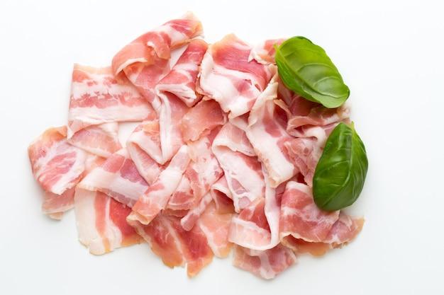 Fresh bacon on isolated.