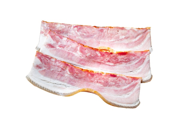 Fresh bacon thin strip slice fatty meat lard piece on the table food meal