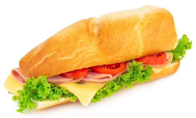Fresh baguette sandwich with ham, cheese, tomatoes, and lettuce isolated on white background .