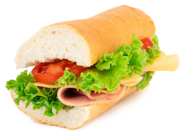 Fresh baguette sandwich with ham, cheese, tomatoes, and lettuce isolated on white.
