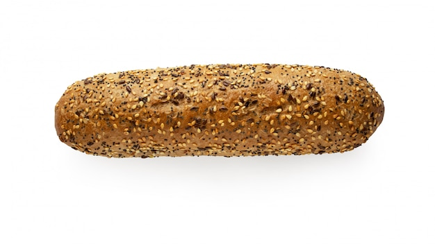 Fresh baguette with seeds isolated on white background