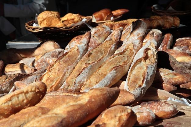 Fresh baguettes at market in france