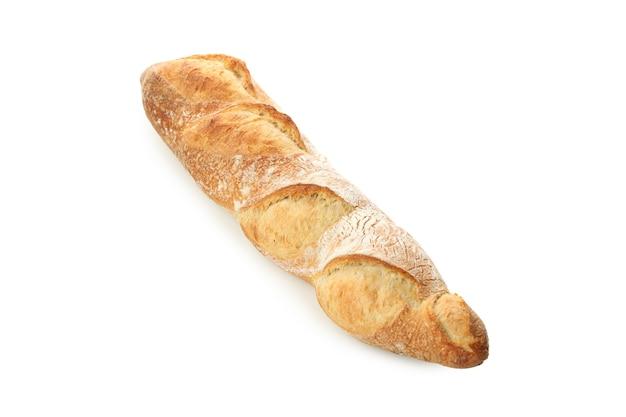 Fresh baked baguette isolated on white background