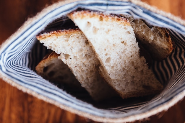 Fresh baked bread sliced in fabric pouch.