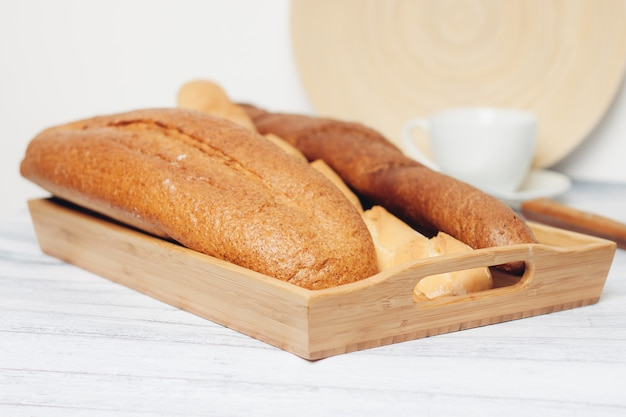 Fresh baked goods on various table legs kitchen breakfast