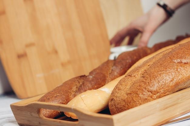 Fresh baked goods on various wall legs kitchen breakfast food diet.