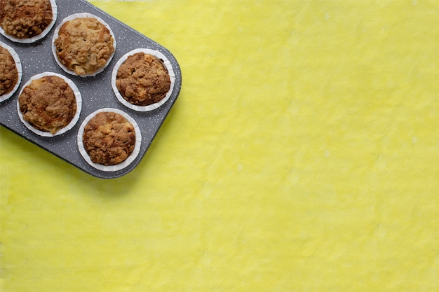 Fresh baked muffins on bright yellow