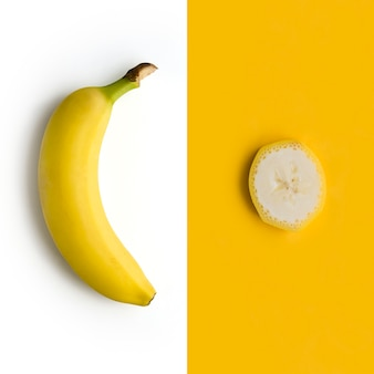 Fresh banana on a white background