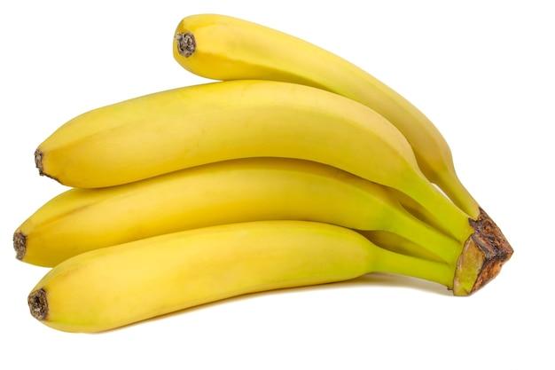 신선한 바나나 거짓말에 고립 된 흰색 배경. 과일을 닫습니다.