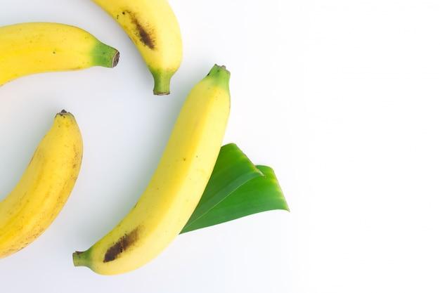 Fresh bananas in top view