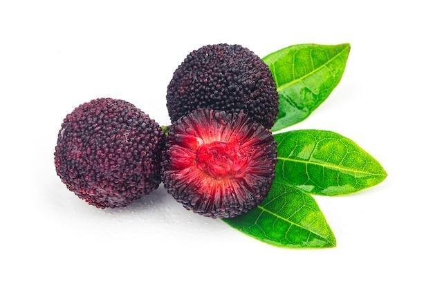 Fresh bayberry on white background