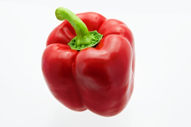 Fresh, beautiful bell sweet pepper on white background, close-up. isolated.