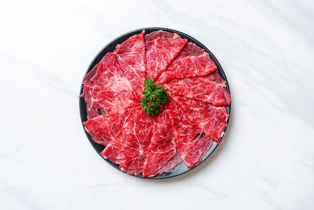 Fresh beef raw sliced