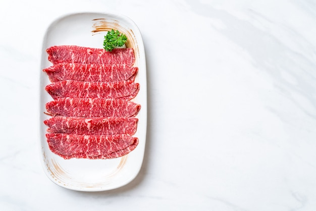 Fresh beef sliced with marbled texture