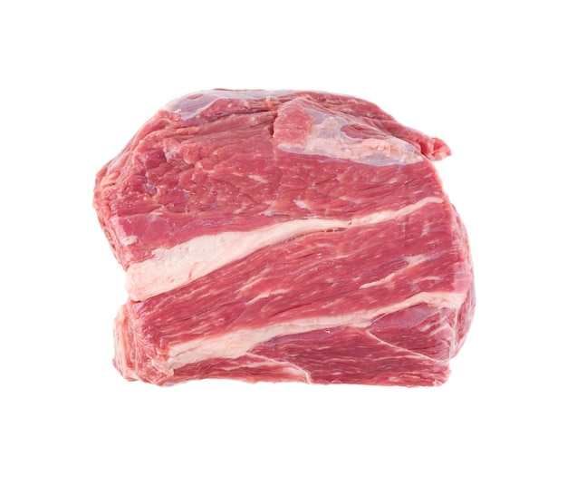 Fresh beef steak isolated. large piece of raw meat filet top view