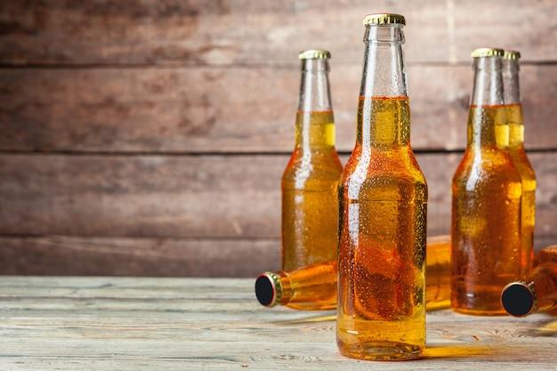 Fresh beer in glass bottles