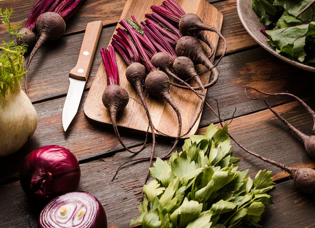 Fresh beet on cutting board flat lay