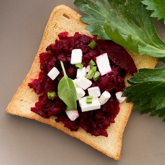 Fresh beetroot and cheese sandwich
