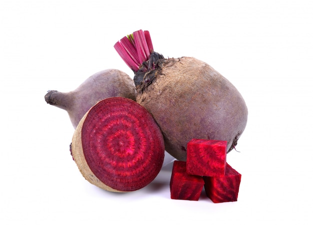 Fresh beetroot with half isolated