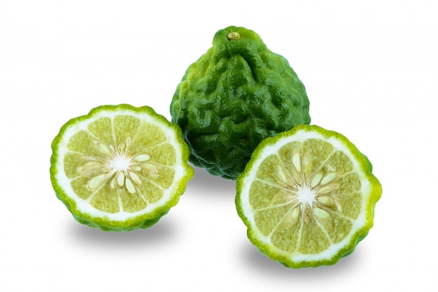 Fresh bergamot fruit isolated on white background