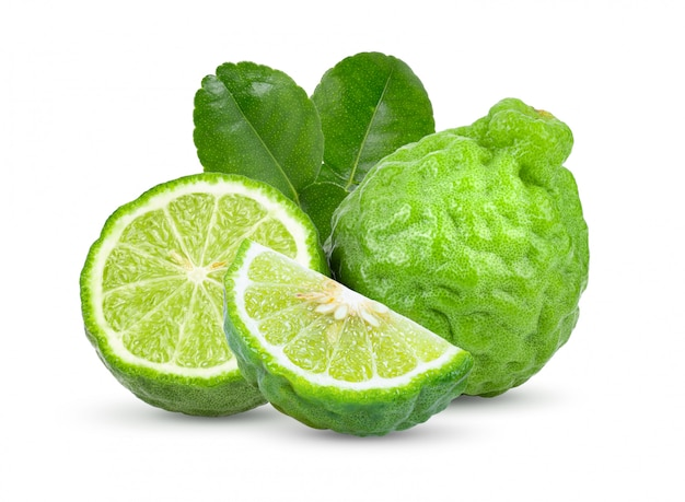신선한 bergamot 과일 잎 흰색 절연