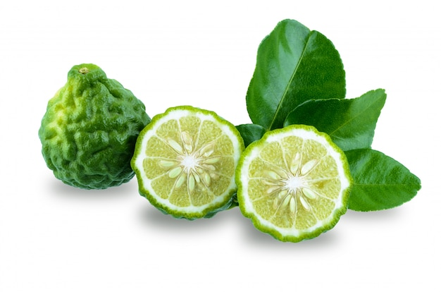 Fresh bergamot fruit with leaf isolated