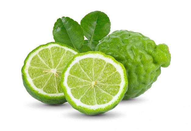 Fresh bergamot fruit with leaves isolated