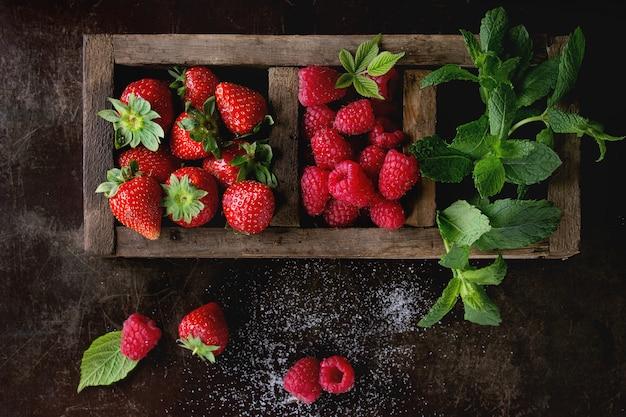 Fresh berries and mint