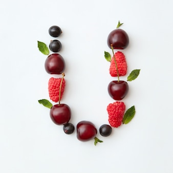 Fresh berries pattern of letter u english alphabet from natural ripe berries - black currant
